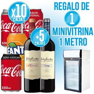 10 Cajas Refrescos Lata + 5 Cajas Faustino + Regalo de 1 Minivitrina 1 metro