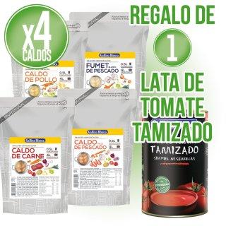 4 Unidades Caldos Concentrado 1/2 Doypack Gallina Blanca + Regalo De 1 Tomate Tamizado 5kg Gb