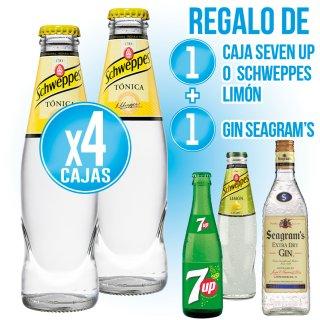 4 Cajas Schw Tonica 20cl Ret + Regalo de 1 c. SevenUp o Schw Limon 20cl ret + 1 bot Gin Seagram's