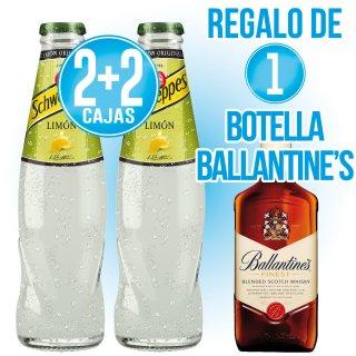 2 Cajas Schweppes Limon 20cl ret + 2 de Regalo + 1 bot Whisky Ballantine's