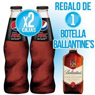 2 Cajas Pepsi Max 20cl ret + Regalo de 1 bot Whisky Ballantine's 70cl