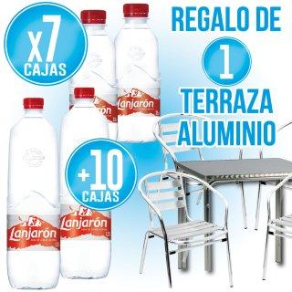 7 Caixes Lanjaron 33cl + 10 Lanjaron 1,25lt + REGAL DE 4 Cadires + 1 Taula alumini
