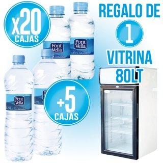 20 cajas Font Vella 33cl + 5 Font Vella 1,25lt + Regalo de 1 Vitrina 1mt