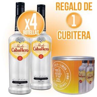 4 botellas Ponche Caballero + Regalo de 1 Cubitera