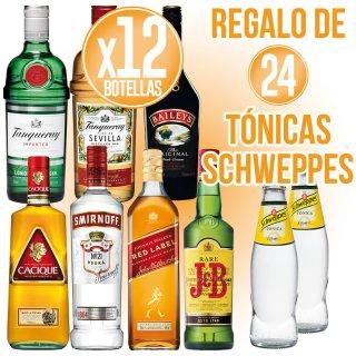 12 bot Diageo Selección + Regalo de 24 bot Schweppes Tonica 20cl