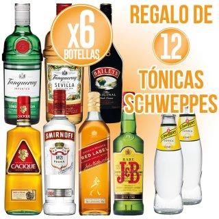 6 bot Diageo Selección + Regalo de 12 bot Schweppes Tonica 20cl
