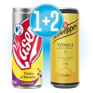 1 caja Casera Tinto Limón Lata + Regalo de 2 cajas Schweppes Tonica Lata 33cl