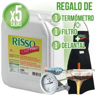 6 GARRAFAS ACEITE RISSO CHEF PLUS 10LT (1 U) + REGALO DE TERMÓMETRO + DELANTAL + FILTRO
