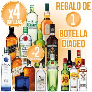 4 Botellas Selección Diageo + 2 Botellas Diageo Reserve Regalo De 1 Botella Diageo