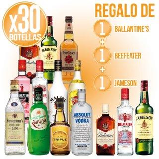 30 Bot Selección Licor + Regalo De 1 Bot W Ballantines + 1 Bot Gin Beefeater + 1 Bot W Jameson