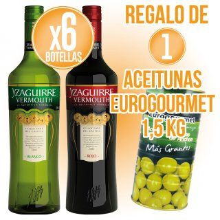 6 Bot Vermouth Yzaguirre + Regal De 1 Pot Olives Eurogourmet 1,5kg