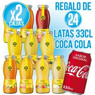 2 cajas Zumos Rauch Sabores + regalo de 24 latas Coca Cola