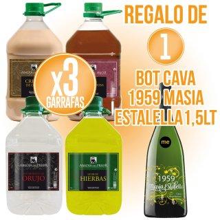3 garrafas Abadia Prior 5lt sabores + regalo de 1 bot Cava Masia Estalella 1959 magnum 1,5lt