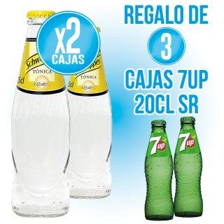 2 caixes Schweppes Tonica 25cl sr (24u) + REGAL DE 3 caixes Seven Up 20cl Sr (24 U)