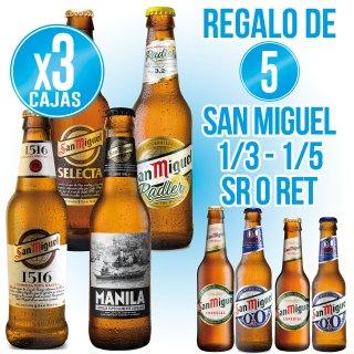 3 cajas Gama San Miguel + regalo de 5 cajas San Miguel ret especial o 0,0%