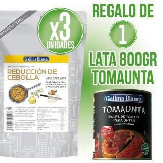 3 Unidades Rrduccion De Cebolla Gallina Blanca 500gr + Regalo De 1 Lata Tomaunta 800gr