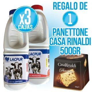 3 Cajas Lacpur Entera O Profesional (6u) + Regalo De 1 Panetone Casa Rinaldi 500gr