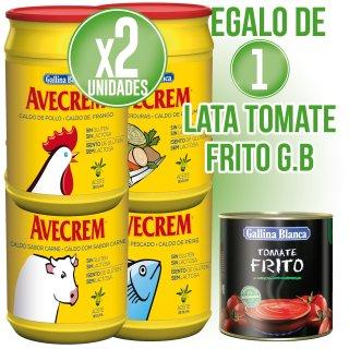 2 BOTES AVECREM 1KG (10 U) + REGALO DE 1 LATA DE TOMATE FRITO GALLINA BLANCA 3KG (6 U)