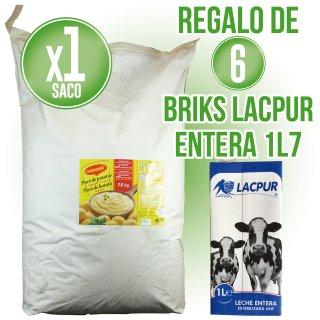 1 SACO DE PURÉ DE PATATAS MAGGI 15KG (1 U) + REGALO DE 6 BRIKS DE LECHE LACPUR ENTERA 1LT (6 U)