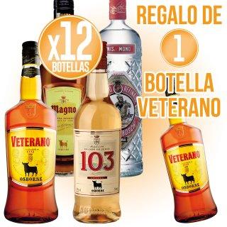 12 BOTELLAS SELECCIÓN OSBORNE + REGALO DE 1 BOTELLA VETERANO 1LT (6 U)