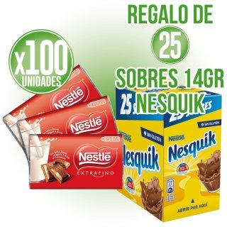 1 ESTUCHE CHOCOLATINAS NESTLÉ 20GR 100 U (6 U) + REGALO DE 25 SOBRES NESQUIK 14GR