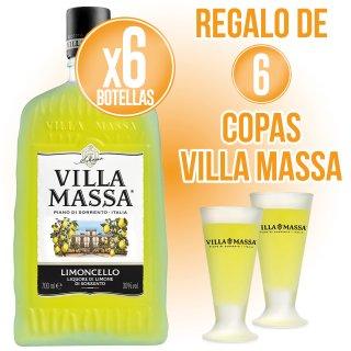 6 BOTELLAS LIMONCELLO VILLAMASSA 70CL (6 U) + REGALO DE 6 COPAS VILLA MASSA