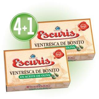 4 LATAS VENTRESCA DE BONITO ESCURIS EN ACEITE DE OLIVA OL-120 (27 U) + 1 DE REGALO