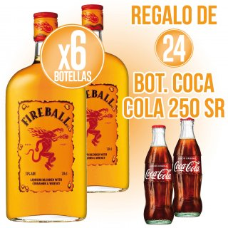 6 BOTELLAS DE WHISKY FIREBALL 70CL (6 U) + REGALO DE 24 BOTELLINES COCA COLA 250ML SIN RETORNO