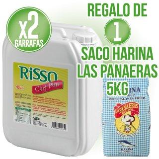 2 GARRAFAS ACEITE RISSO CHEF PLUS 10LT (1U) + REGALO DE 1 SACO DE HARINA PARA FREÍR LAS PANAERAS 5KG
