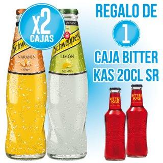 2 CAJAS SCHWEPPES CÍTRICOS RETORNABLES 200ML + REGALO DE 1 CAJA BITTER KAS 20CL SIN RETORNO (24 U)