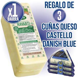1 QUESO HAVARTI BARRA (KG) + REGALO DE 3 UNIDADES DE QUESO DANABLU 100GR