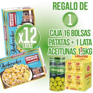 12 LATAS BERBERECHOS PAMOR+REGALO 16 BOLSAS PATATAS FRIT RAVICH+1 LATA ACEITUNAS EUROGOURMET 1,5KG