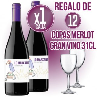 6 BOTELLAS VINO LO MARXANT + REGALO DE 12 COPAS MERLOT GRAN VINO 31CL