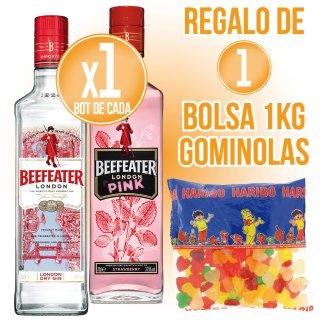 1 BOTELLA DE GIN BEEFEATER + 1 BOTELLA GIN BEEFEATER PINK + REGALO DE 1 BOLSA GOMINOLAS 1KG