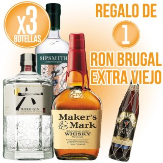 3 BOTELLAS DE LICORES SELECCIÓN MAXXIUM + REGALO DE 1 BOTELLA RON BRUGAL EXTRA VIEJO