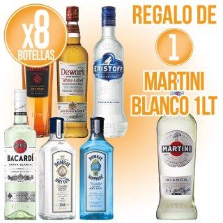 8 BOTELLAS DE LICORES SELECCIÓN BACARDI + REGALO DE 1 BOTELLA MARTINI BLANCO 1LT
