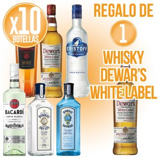 10 BOTELLAS DE LICORES SELECCIÓN BACARDI + REGALO DE 1 BOTELLA WHISKY DEWAR'S WHITE LABEL
