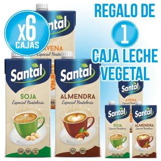 6 CAJAS LECHE VEGETAL SANTAL SOJA, AVENA O ALMENDRA + 1 DE REGALO
