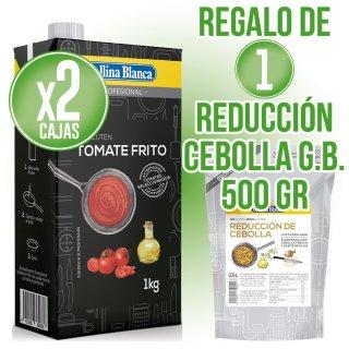2 Cajas Tomate Frito Gallina Blanca Brick 1lt + Regalo 1 Reducción Cebolla Gallina Blanca 500gr