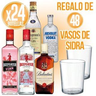 24 Botellas Selección Pernod A Escoger + Regalo De 48 Vasos Sidra