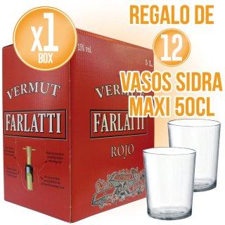 1 Box Vermut Farlatti 5lt + Regal 12 Gots De Sidra Maxi 50cl