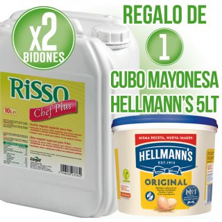 2 Garrafes Oli Risso 10lt + Regal De 1 Cubell Maionesa Hellmann's 5lt