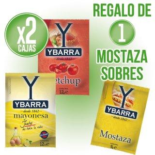 2 Cajas Mayonesa O Ketchup Ybarra Sobres + Regalo De 1 Caja Mostaza Ybarra Sobres