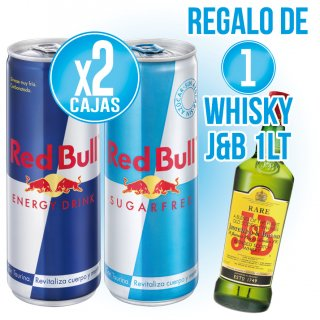 1 Caixa Red Bull O Sugar Free + Regal De 1 Bot Whisky J&B 1lt