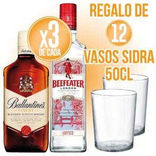 3 Bot Gin Beefeater 70cl + 3 Bot Whisky Ballantines 70cl + Regal De 12 Vasos De Sidra