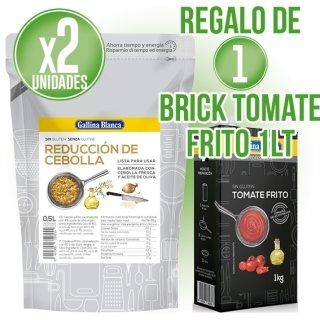 2 UNITATS REDUCCIO DE CEBA GALLINA BLANCA + REGAL DE 1 BRIK TOMÀQUET FREGIT GB