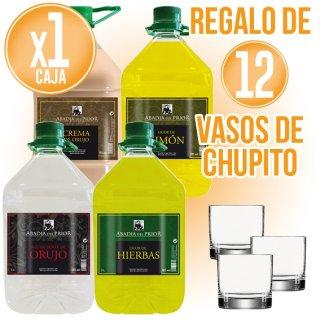3 GARRAFAS LICOR ABADIA DEL PRIOR 3LT + REGAL DE 12 VASOS XARRUP 4CL