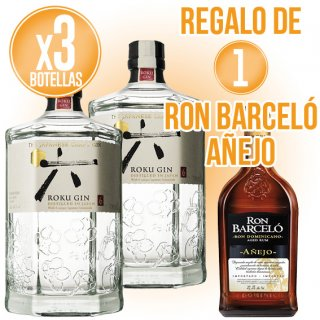 3 BOTELLAS GIN ROKU + REGALO DE 1 BOTELLA RON BARCELÓ AÑEJO 70CL