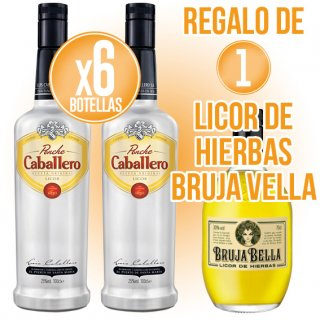 6 BOTELLES PONCHE CABALLERO 1LT + REGAL DE 1 BOT LICOR HERBES BRUJA BELLA 70CL