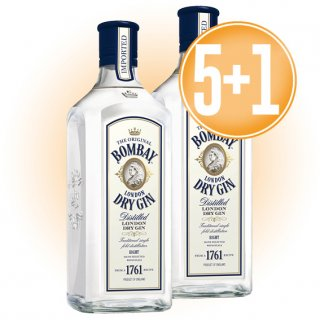 5 BOTELLES GIN BOMBAY IMPORTED 70 CL + 1 DE REGAL